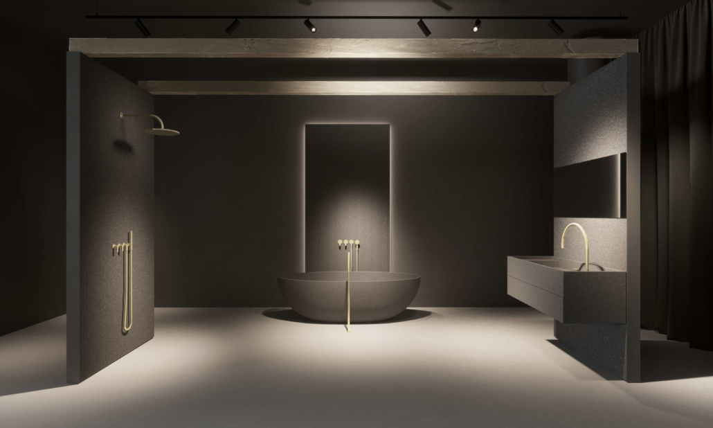 COCOON bathroom project with dark sink and bathtub finish