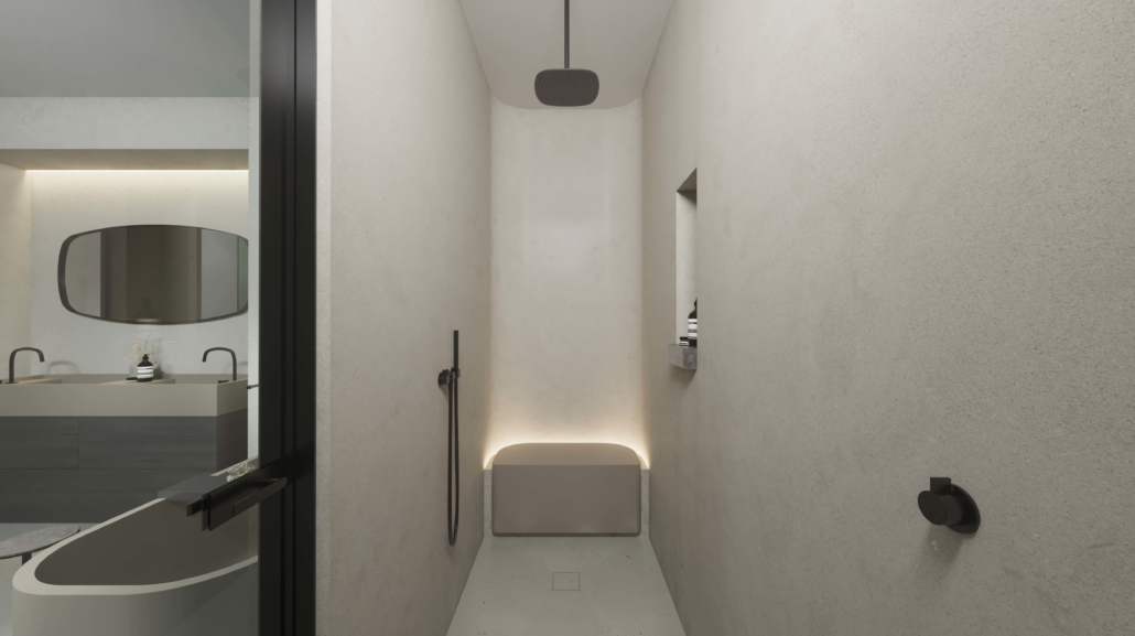 COCOON cream shower inside of bathroom
