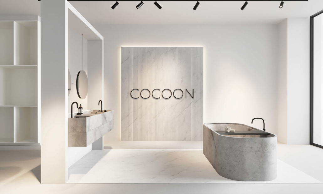 COCOON Bathroom with COCOON sign and stone