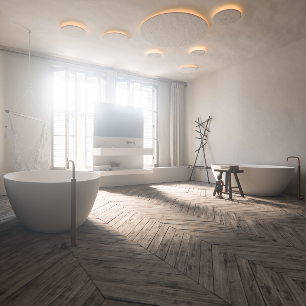 COCOON Bathroom double white bathtubs with round bubble-like ceiling lights