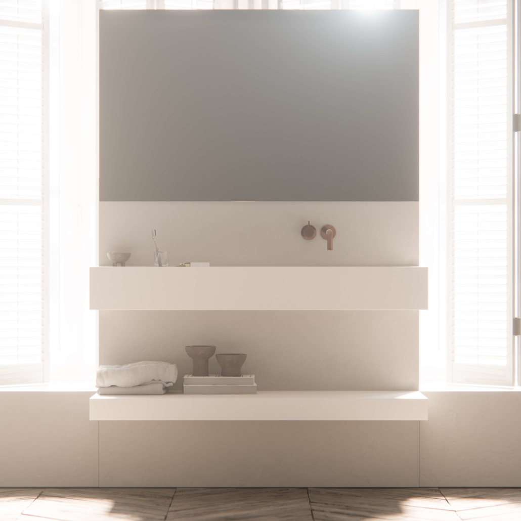 COCOON white sink with single faucet