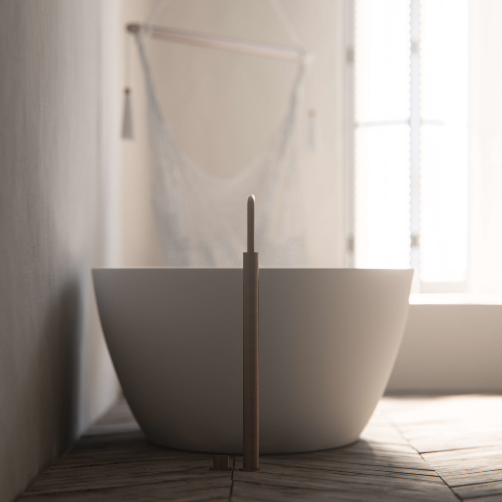 COCOON White bathtub with brass faucet