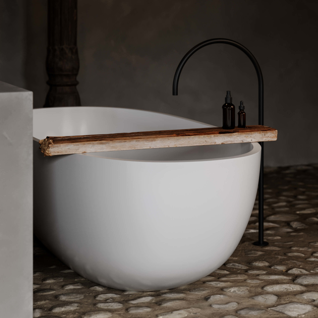 Modern COCOON bathtub with tall faucet unattached
