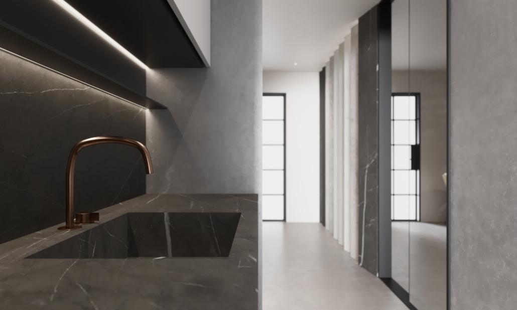 Specialty Hardware + Plumbing dark kitchen sink showroom