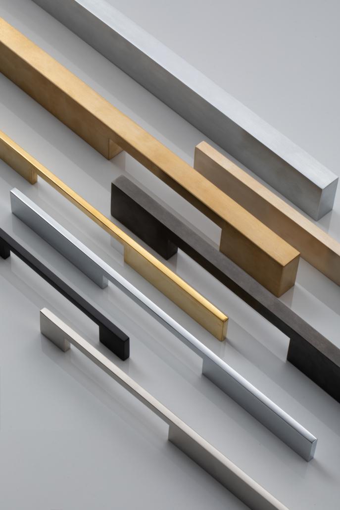 Designer Doorware think and rectangular door handle options