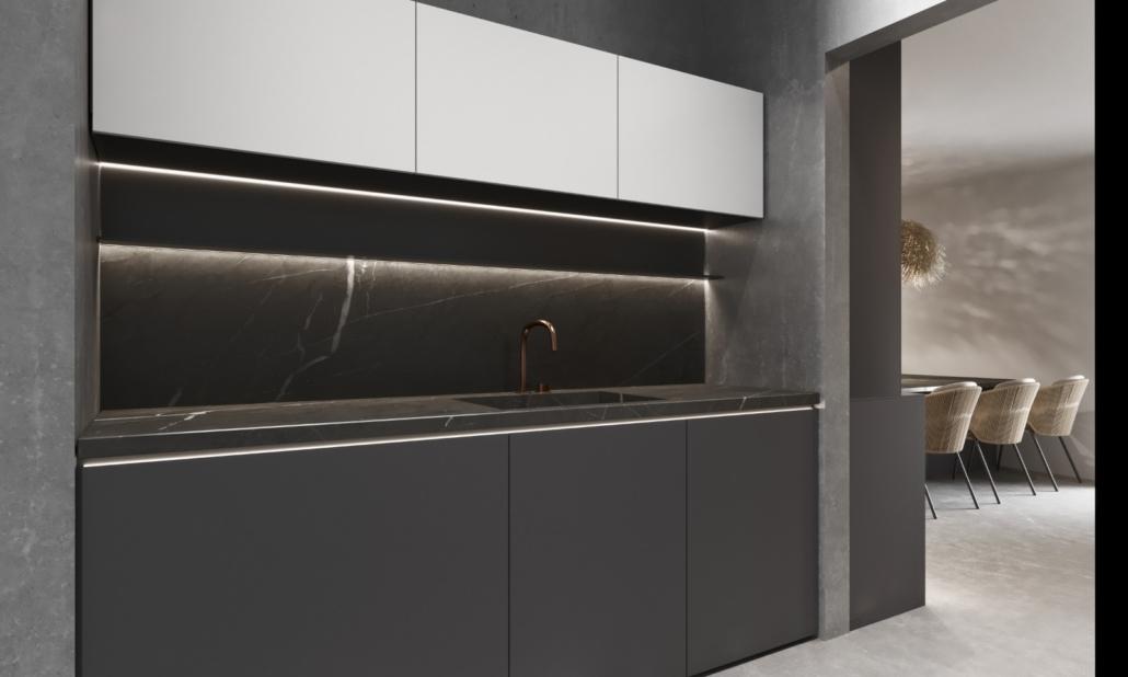 Specialty Hardware + Plumbing showroom kitchen sink dark stone