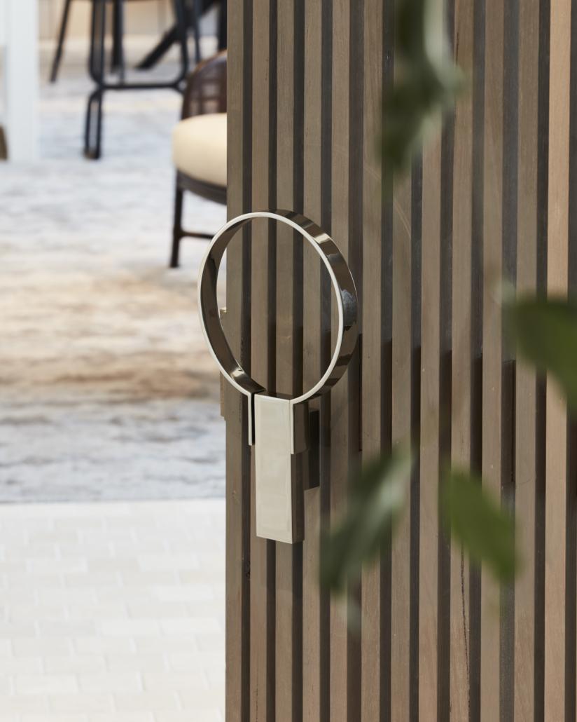 Designer Doorware round shaped door handle in silver