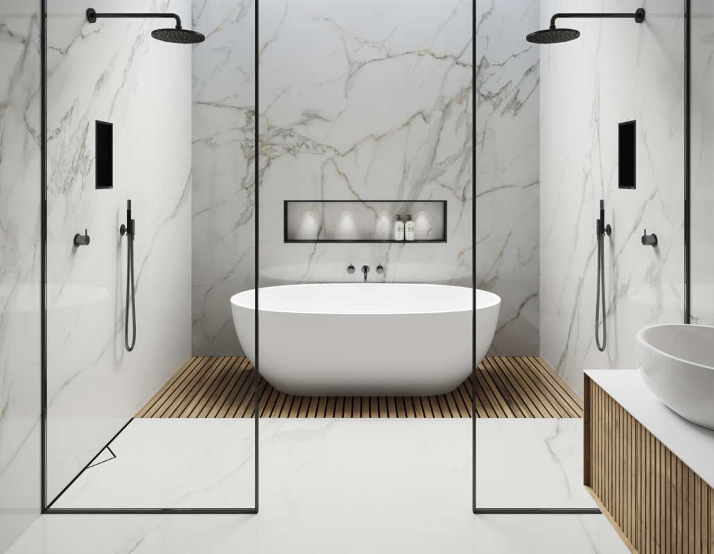 ESS Easy Drain bathroom set up with two shower and bathtub