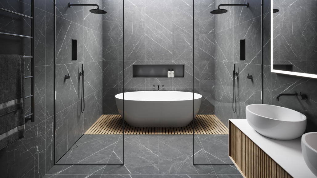 ESS Easy Drain bathroom set up with two shower and bathtub in dark gray and black