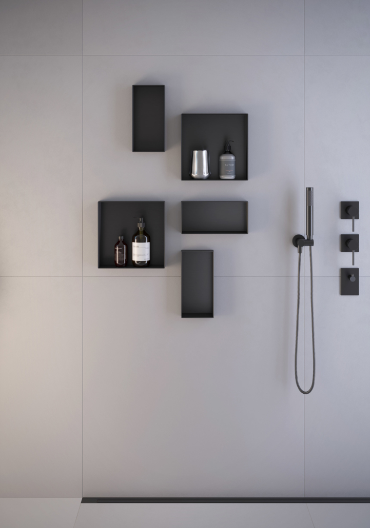 ESS Easy Drain shower drain with containers for storage that go on the walls