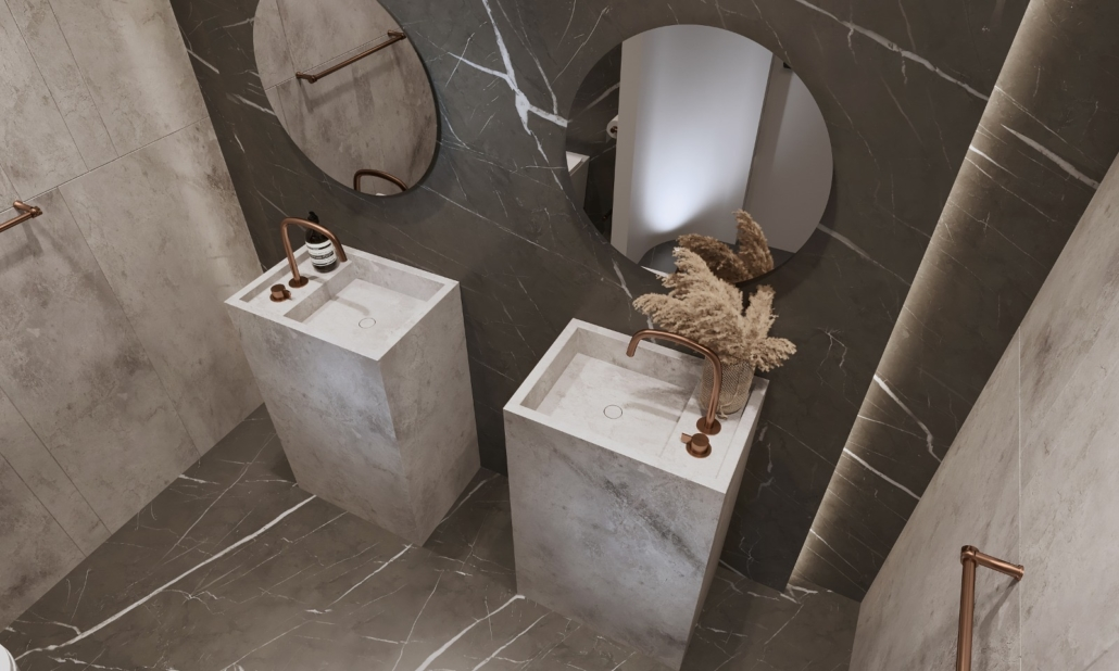 Specialty Hardware + Plumbing bathroom double pillar stone sinks with two round mirrors