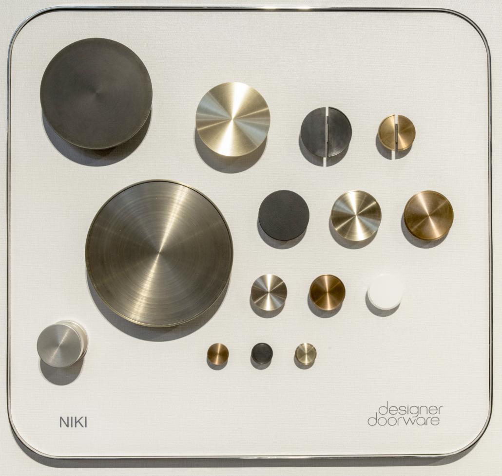 Designer Doorware metal round door handle options