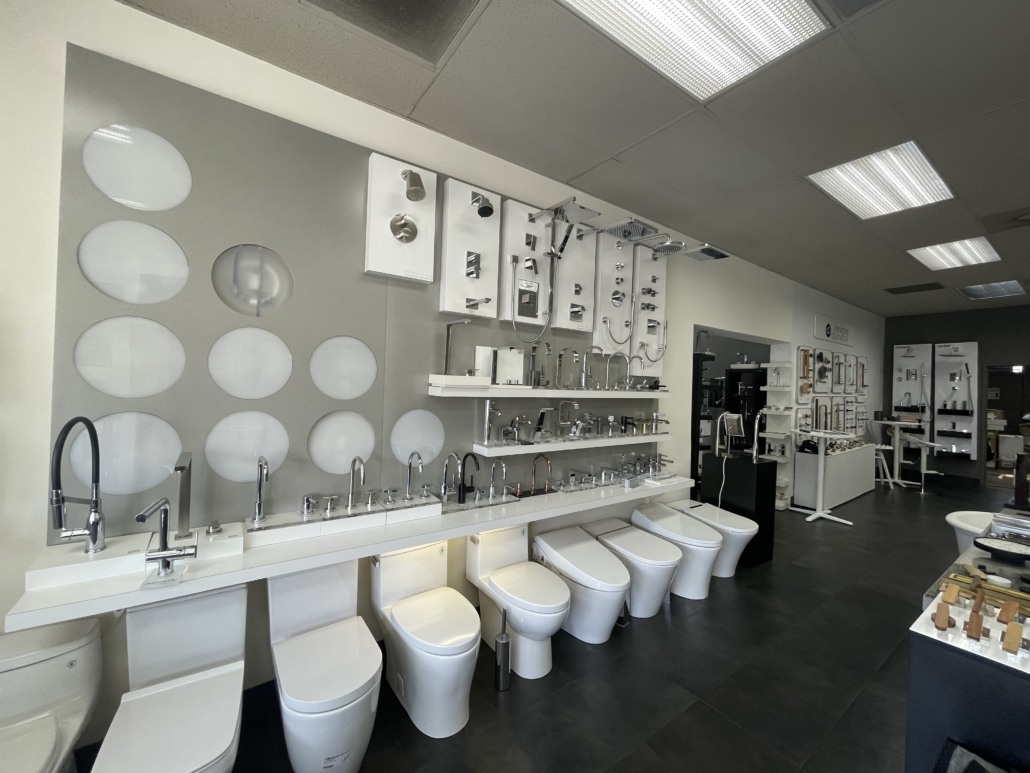 Specialty Hardware + Plumbing showroom of toilet and bathroom sink faucets products