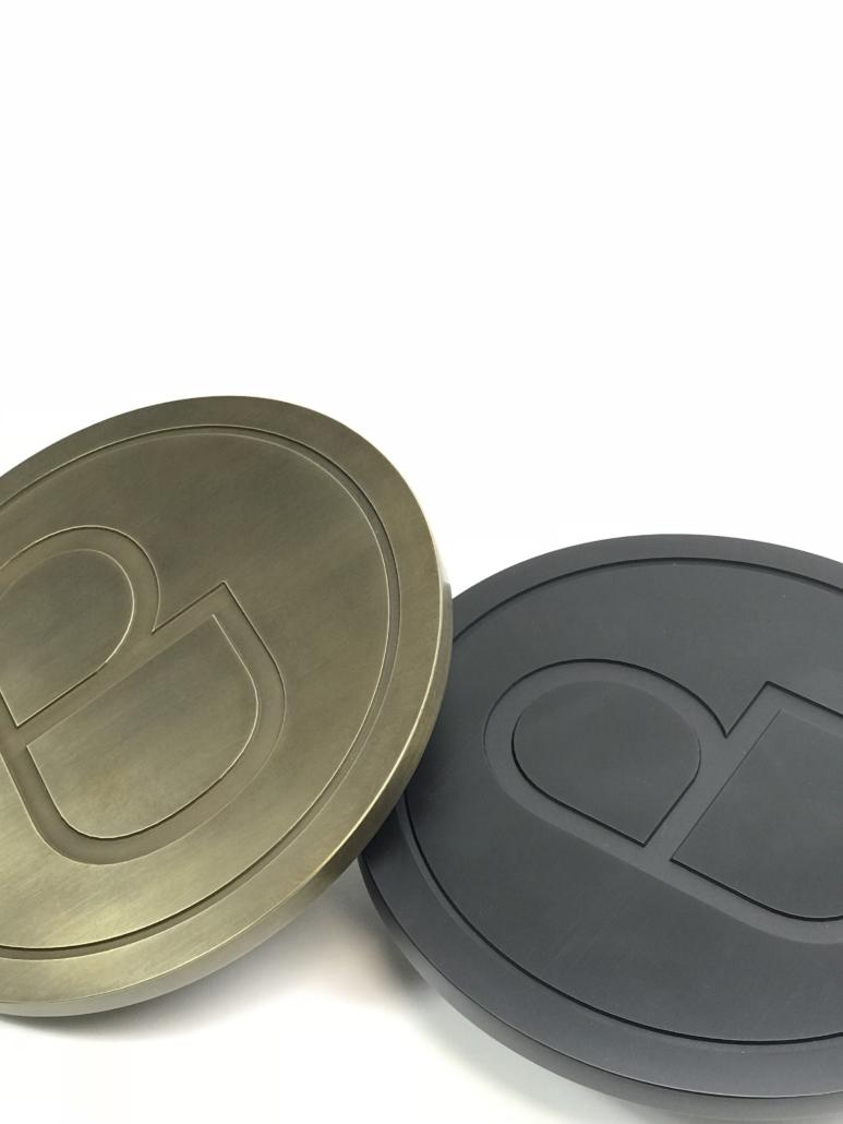 Designer Doorware rounded gold and black door handles