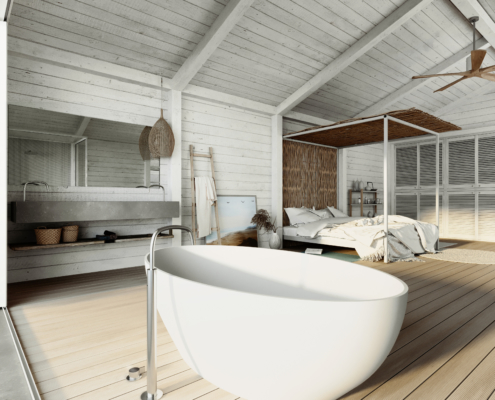 COCOON white bathtub with silver long faucet