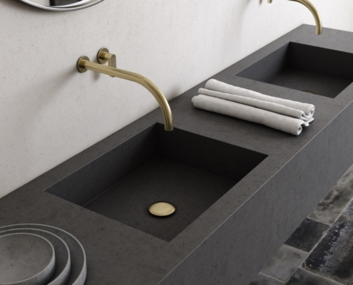 COCOON gray double sink with gold faucets